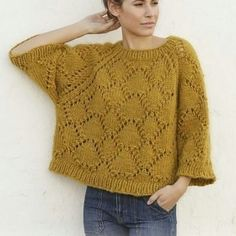 Summer shells / DROPS - free knitting patterns by DROPS design Knitted sweater with raglan in DROPS Eskimo. The piece is knitted with lace pattern from top to bottom. Sizes S - XXXL. Free Chunky Knitting Patterns, Sweater Knitting Patterns, Free Knitting, Finger Knitting, Scarf Patterns, Knitting Machine, Crochet Patterns, Designer Knitting Patterns, Knitting Designs