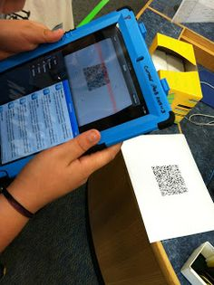 Ms. Drew in the Library: QR Code Scavenger Hunt.  QR scanners are free and easy to install on Ipads.  I like the idea of using this technology while teaching Dewey to kids.