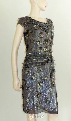 7aba06680fb  5490 Oscar de La Renta Spectacular Sequined Jeweled Dress Sz 10 New Auth