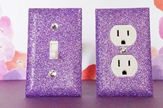 Click image to buy on Amazon! So easy to buy! AMETHYST GLITTER SWITCH PLATE & OUTLET COVER. SET OF 2. ALL Styles Available! SwankElectric