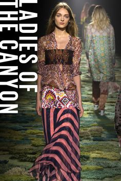 Designers took a page from the Joni Mitchell playbook for Spring. Pucci's tie-dyes, Chloé's trapeze dresses, and Gucci's patchworked fur vests could have stepped right off the runway and onto the Festival Express. Dries Van Noten even staged his own haute hippie sit-in.