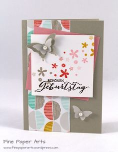 Stampin' up! Geburtstagskarte, Birthday card, Stampset Perpetual birthday calendar, DSP Die schönste Zeit, DSP Best day ever - Fine Paper Arts