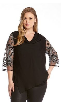 PLUS SIZE BLACK AND SILVER EMBROIDERED SLEEVE TOP #Karen_Kane #Black #Grey #Silver #Embroidered #Top #Chic #Holiday #Party #Elegant #Evening #Plus_Size_Fashion