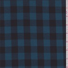 Peacock Blue/Black Check Shirting - 31117 - Fabric By The Yard At Discount Prices