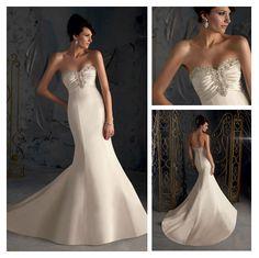 62e96dedef New Fashion Mermaid Trumpet Satin Sweetheart Wedding Dress White Ivory  Elegant Beaded Bust Wedding