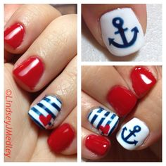 Freehand nail art. Shellac Nautical Nails by Lindsey J Medley.  Gotta love the red, white and blue! And definitely LOVE THE ANCHORS!