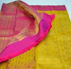 mustard and pink traditional kanjeevaram saree