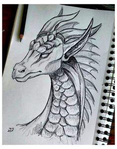 Dark Art Drawings, Art Drawings Sketches Simple, Pencil Art Drawings, Easy Drawings, Animal Drawings, Easy Dragon Drawings, Tattoo Drawings, Simple Sketch Drawing, Tattoo Sketches
