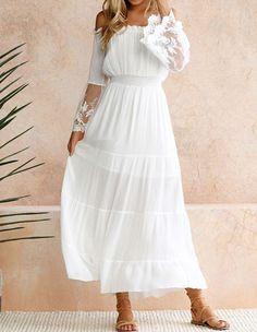 cbd516f058efaf Bardot Flutter Lace Sleeves Elastic Waist White Maxi Going Out Dress