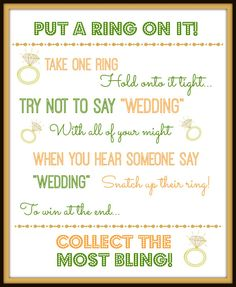 graphic relating to Put a Ring on It Bridal Shower Game Free Printable titled 11 Most straightforward Bridal Shower pictures inside of 2015 Number of shower, My