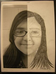 Tart--Teaching Art with Attitude: Pencil Symmetrical Self-Portraits great idea use ipad to photograph self and cut in half. Could use other side to do a portrait in a different medium.