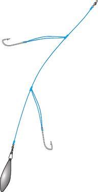 The basic arrangement of flounder fishing rigs; the hook