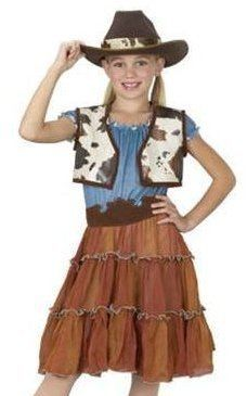 Cowgirl (Medium (8-10)) by FUN WORLD. $19.99. Small (4-6), Medium (7-10), Large (12-14). The hosiery and boots are not included.. Includes: Dress, belt, vest, and cowgirl hat. polyester. If her gym class is teaching square dancing, no one will be more appropriately dressed than your daughter in the Cowgirl Halloween Costume for Girl. Included are a dress with a ruffled blue top, a tiered brown knee-length skirt, a brown faux suede belt, cowhide print vest, and a brown cowbo...