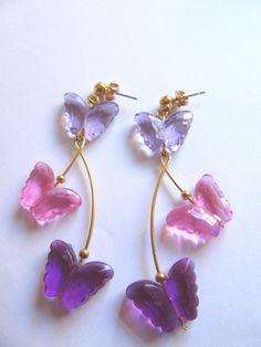 Vintage Avon Pink and Purple Fluttering Butterfly Pierced Earrings Summer Jewerlry Garden Party Vintage Costume Jewelry Butterflies by MoonlightMartini on Etsy https://www.etsy.com/listing/289085959/vintage-avon-pink-and-purple-fluttering