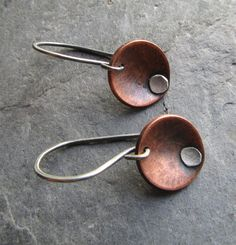 Copper rivet earrings / Mixed metal copper by GretchenColeJewelry, $34.00