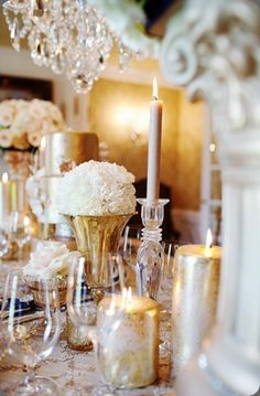 Gorgeous gold table setting by Courtenay Lambert Florals