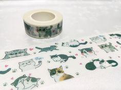 Cat washi tape 10M x 1.5CM grey cat Cute cat washi by TapesKingdom
