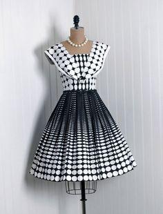 1950's Black and White Polka Dot Cotton Dress