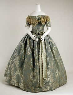 Dress: ca. 1855-1859, French (probably), silk, lace, metallic threads.