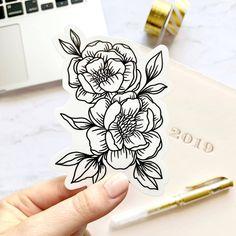 White Flower Tattoos, Black And White Flower Tattoo, Black Tattoos, Black Line Tattoo, Floral Tattoos, Floral Tattoo Design, Black And White Flowers, Butterfly Tattoos, Black White