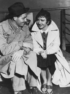 "Clark Gable & Claudette Colbert on the set of ""It happened one night"" -1934"