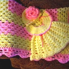 Crochet Baby set Granny Square Blanket Crochet Dress and Hat with Flower