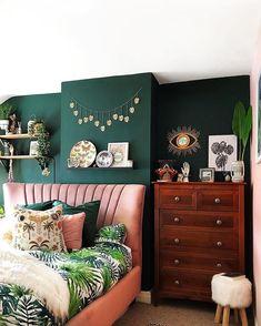 Room Makeover Dark green walls, pink velvet headboard, botanical prints and vintage chest of drawers Pink Green Bedrooms, Green Bedroom Walls, Green Bedroom Decor, Dark Green Walls, Green Rooms, Home Decor Bedroom, Bedroom Ideas, Green Bedroom Colors, Master Bedroom