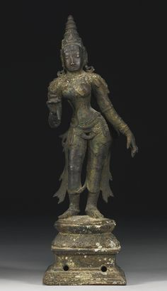 A COPPER ALLOY FIGURE OF PARVATI<br /> South India, Vijayanagar period, 14th/15th Century   Lot   Sotheby's