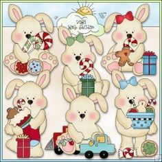 Little Bunnies Christmas Morning 1 - NE Cheryl Seslar Clip Art