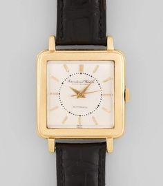IWC Automatic Quadratische, automatische Herrenarmbanduhr in 750 Gelbgoldgehäuse ca 20 g. Boden ge — Taschen- und Armbanduhren