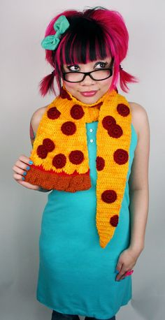 Pepperoni Pizza Scarf  Made To Order by TwinkieChan on Etsy, $140.00