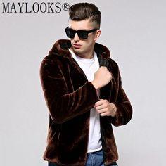 Singleluci Mens Warm Thick Winter Coat Jacket Faux Fur Parka Outwear Cardigan