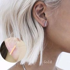 Gold Silver Ear Studs - Earring Type: Stud Earrings - Item Type: Earrings - Fine or Fashion: Fashion - Back Finding: Push-back - Style: Trendy - Gender: Women - Material: None - Metals Type: Zinc Allo