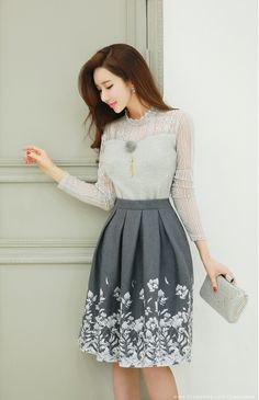 Soft Angora Lace Blouse Tee in 2020 Casual Dress Outfits, Teen Fashion Outfits, Stylish Dresses, Skirt Outfits, Classy Outfits, Elegant Dresses, Pretty Dresses, Beautiful Dresses, Fashion Dresses
