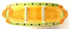 Pfaltzgraff Secrets of Pistoulet Relish Tray Dish Platter Yellow Green Orange  #Pfaltzgraff
