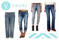 Fall Denim Guide for Your Body Type  V frame often Called Apple or inverted .. Top large by 2 plus sizes than bottom
