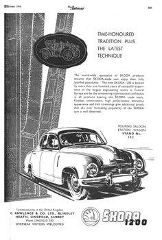 Skoda 1200 Motor Car Autocar Advert 1954 Vintage Ads, Vintage Images, Vintage Posters, Car Drawings, Love Car, Advertising Poster, Motor Car, Countries, Automobile
