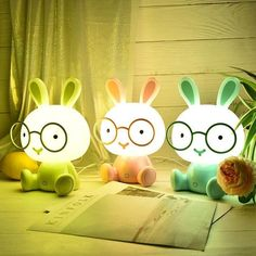 Colorful Cute Rabbit Bedside Lamp Soft cozy bedside lamp that helps your kids get a good night sleep Bedroom Night Light, Led Night Light, Kids Glasses, Bunny Crafts, Bedside Lamp, Birthday Wishlist, Baby Room Decor, Home Decor Styles, Good Night Sleep