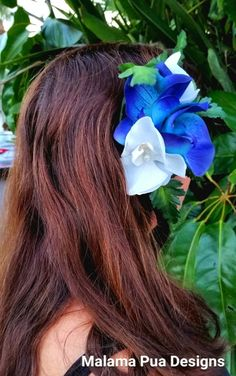 MAUI BLUE & WHTIE Orchids Hair Accessory Silk Hair by MalamaPua