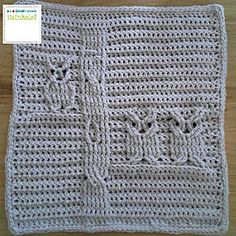 """Owls Cables - free crochet pattern by Sarit Grinberg. Part 12 of the """"Bilbe & Friends Blanket"""" CAL 2016. Multiple languages."""