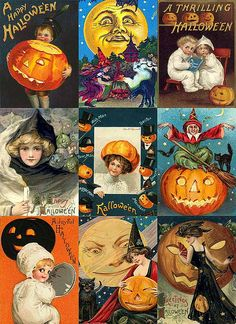 Halloween Collage Sheet    Free to use in your Art, not for Sale in a CD