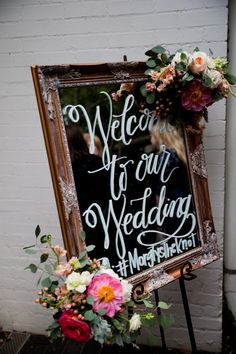 Calligraphy Welcome Sign; Coral & Peach Wedding  significanteventsoftexas.com
