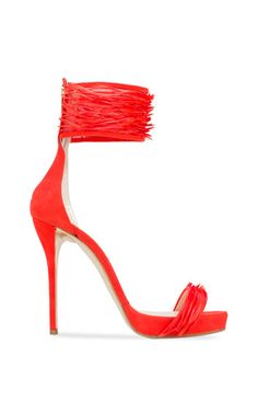 Sandra Suede And Ostrich Platform Sandal In Coral by Oscar de la Renta for Preorder on Moda Operandi