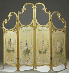 French Style Four Panel Giltwood Dressing Screen