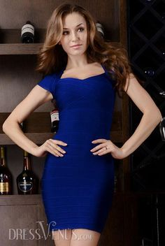 Elastic Bodycon in Blue Bandage Party Dress.