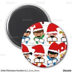 Little #ChristmasCarolers 2 Inch Round Magnet by #I_Love_Xmas  #zazzle #stockingstuffers  #Gravityx9