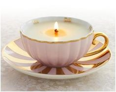 make a tea cup candle