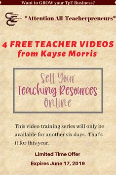TIME IS RUNNING OUT! Sign up for this free workshop series.  If you are a teacherpreneur it will change your life! This offer ends  June 17, 2019. (Affiliate link) #teachertraining #teacherworkshops #teacherspayteachers #freeteacherworkshops