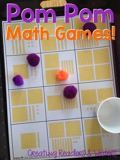 Pom Pom Math Games for 2nd Grade: More than 40 games in this set... easy to make and great for math centers, too! (58 pages, $)