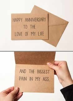 FUNNY ANNIVERSARY CARD! Hilarious, brutally honest and the perfect card for the love of your life! Available for Birthdays too! Boyfriends, Girlfriends, Husbands and wives will all get a kick out of this card. #boyfriendgifts #boyfriendgiftsideas